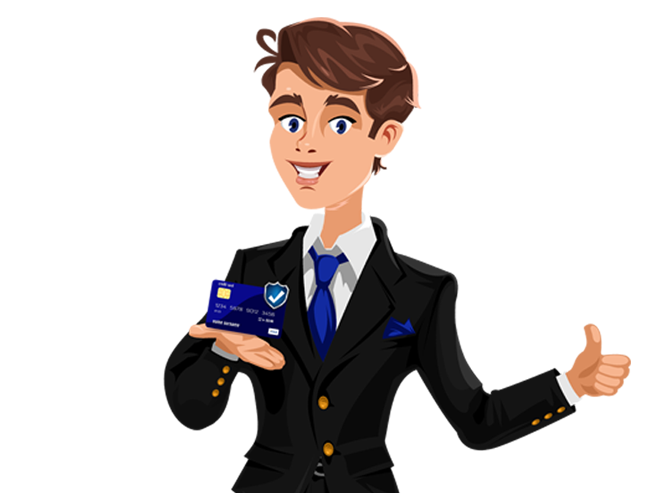 a caricature if a man holding up a credit card with a blue checked badge