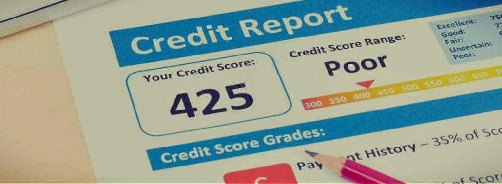 A credit report form that features a poor credit result.