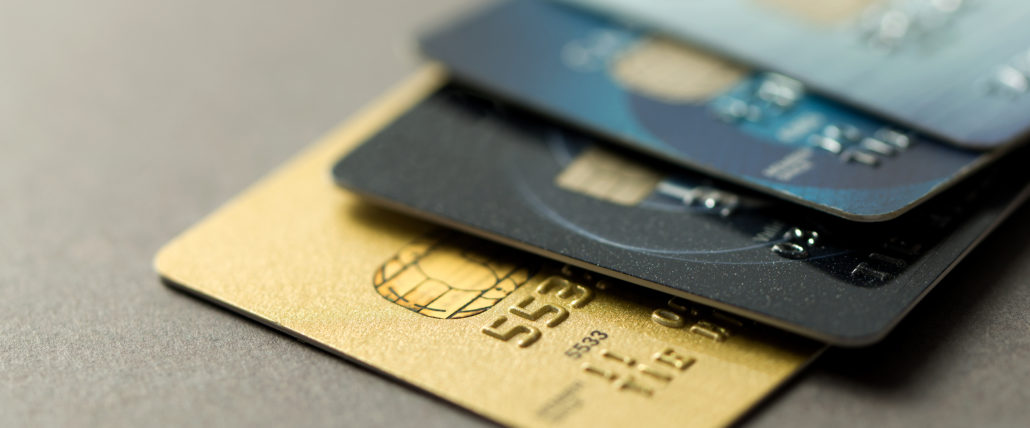 cascades of credit cards in different colors